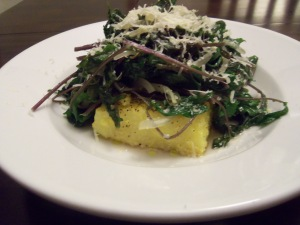Baby Kale over Pan Seared Polenta