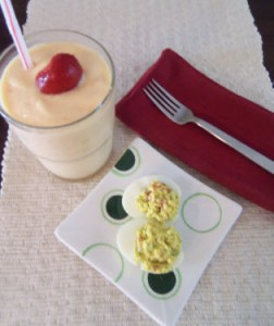 Fruit Yogurt Smoothie and Deviled Eggs