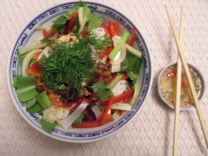 Bun noodle bowl with five spice chicken