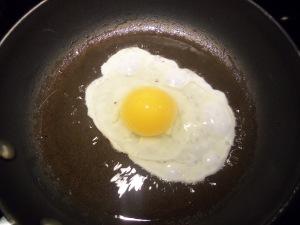 Frying the egg...