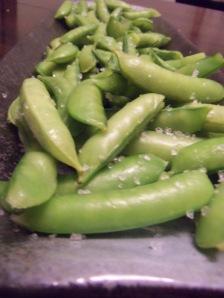 Steamed Sugar Snap Peas with Coarse Sea Salt